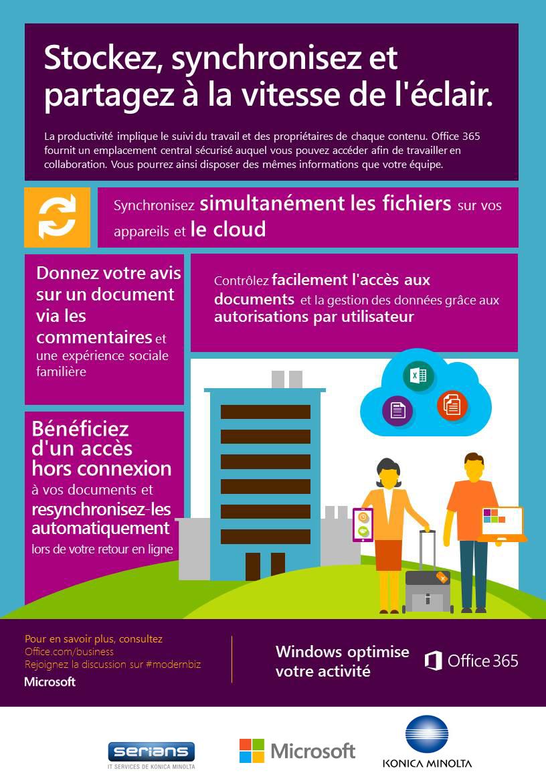La productivité implique le suivi du travail et des propriétaires de chaque contenu. Office365 fournit un emplacement central sécurisé auquel vous pouvez accéder afin de travailler en collaboration. Vous pourrez ainsi disposer des mêmes informations que votre équipe.