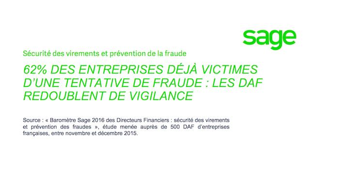 Baromètre Sage 2016 des Directeurs Financiers : sécurité des virements et prévention des fraudes